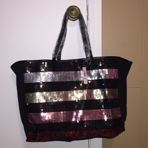 NWT LIMITED EDITION VS Striped Sequin Tote
